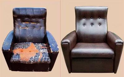 Перетяжка кресла и пуфа